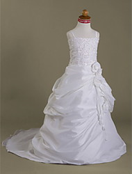 A-line/Princess/Ball Gown Court Train Flower Girl Dress - Satin/Organza Sleeveless