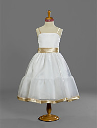 Lanting Bride Tea-length Satin / Tulle Junior Bridesmaid Dress A-line / Princess Spaghetti Straps Natural with Sash / Ribbon