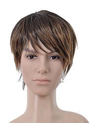 Short Straight Dark Brown with Golden Brown Side Bang Men Hair Wig