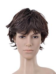 corto y rizado de color marrón oscuro bang plena peluca de pelo hombres (0463-6.13-351)