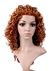 Hand Tied Style Lace Front Long High Quality Synthetic Natural Look Golden Brown Curly Hair Wig