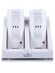 quai de batterie rechargeable / stand / station pour wii + 2 x 2800mah piles rechargeables