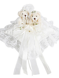 Lovely Flower And Little Bear Decoration Smooth Satin Wedding Ring Pillow