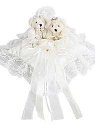 belle fleur et de la décoration petit ours bon oreiller en satin bague de mariage (0802-whc006)