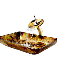 Victory  Rectangular Colorful Tempered glass Vessel Sink and Waterfall Faucet(0917-VT4029)