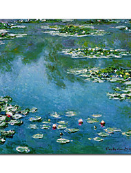 Hand-painted  Water Lilies by Claude Monet  with Stretched Frame