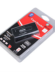 все-в-одном мини USB 2.0 MS / MS Pro / MS Duo / T-Flash / SDHC / SD / MMC Card Reader (черный)