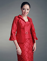 Coats/Jackets 3/4-Length Sleeve Taffeta Ruby Party/Evening Poet Ruched Open Front