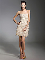 Sheath / Column Strapless Short / Mini Lace Organza Cocktail Party Homecoming Holiday Dress with Beading Lace by TS Couture®