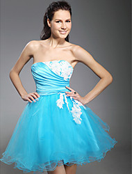 Cocktail Party / Homecoming / Prom / Sweet 16 / Holiday Dress - Short Plus Size / Petite Ball Gown Strapless Short / Mini Tulle with