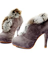 Верх из замши высокие каблуки лодыжки загрузки с пером обувной моды (0987-ca31451)