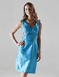 Lanting Sheath/Column V-neck Knee-length Taffeta Bridesmaid/Wedding Party/Homecoming Dress