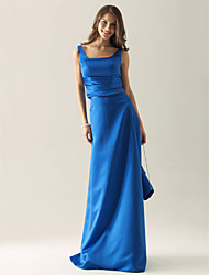 LAN TING BRIDE Floor-length Square Straps Bridesmaid Dress - Elegant Sleeveless Satin