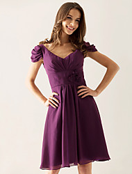 Knee-length Chiffon Bridesmaid Dress - Grape Plus Sizes A-line/Princess V-neck