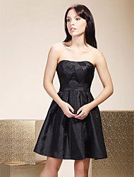 Short / Mini Taffeta Bridesmaid Dress - Little Black Dress A-line Strapless Plus Size / Petite with Side Draping