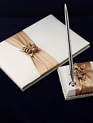 Satin Blush Ivory Wedding Guest Book and Pen Set Sign In Book