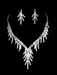Czech Rhinestone Fringe Bridal Necklace And Earring Set