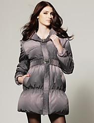 bavero verificare stampato con cintura giù cappotto / donna cappotti (ff-b-0.859.210)