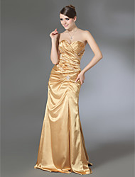 Sheath/Column Sweetheart Floor-length Stretch Satin Evening Dress with Removable Court Train