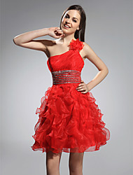 A-Line Princess One Shoulder Short / Mini Organza Holiday Dress with Beading by TS Couture®