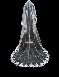 Wedding Veil One-tier Cathedral Veils Lace Applique Edge 220.47 in (560cm) Tulle White WhiteA-line, Ball Gown, Princess, Sheath/ Column,