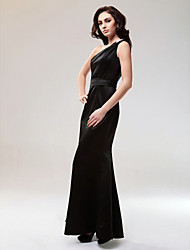 Mermaid / Trumpet One Shoulder Floor Length Satin Formal Evening Military Ball Dress with Crystal Detailing by TS Couture®