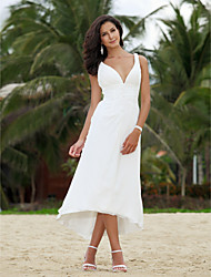 Lanting A-line Petite / Plus Sizes Wedding Dress - Ivory Asymmetrical V-neck Chiffon