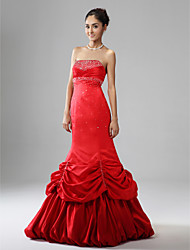 Trumpet/ Mermaid Strapless Sleeveless Floor-length Satin Evening/ Prom Dress