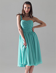 Lanting Bride® Knee-length Chiffon Bridesmaid Dress - A-line / Princess One Shoulder Plus Size / Petite with Ruching / Pleats