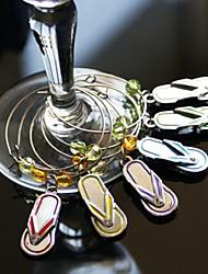 flip flop charmes de vin en verre (lot de 6)