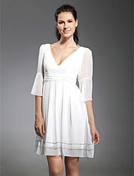 TS Couture® Cocktail Party / Graduation Dress - White Plus Sizes / Petite A-line / Princess V-neck Short/Mini Chiffon