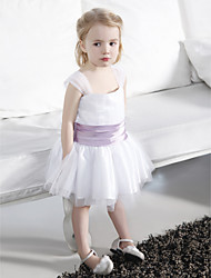 Ball Gown Knee-length Flower Girl Dress - Tulle / Stretch Satin Sleeveless Square / Straps with Draping / Ruffles / Ruching