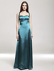 Lanting Bride® Floor-length Satin / Stretch Satin Bridesmaid Dress - Sheath / Column Spaghetti StrapsApple / Hourglass / Inverted