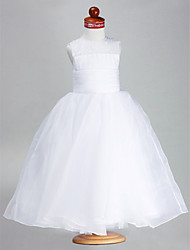 Ball Gown Ankle-length Flower Girl Dress - Organza Satin Jewel with Beading Draping Ruching
