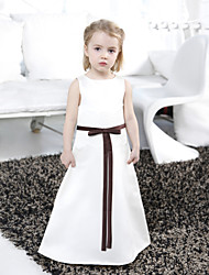 Lanting Bride A-line / Princess Floor-length Flower Girl Dress - Satin Sleeveless Bateau with Bow(s) / Lace / Sash / Ribbon