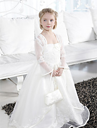 Ball Gown Floor-length Flower Girl Dress - Organza Satin Spaghetti Straps with Appliques Beading Ruffles Split Front