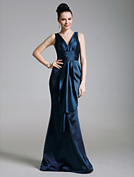 Formal Evening/Military Ball Dress - Dark Navy Plus Sizes Trumpet/Mermaid V-neck Floor-length Stretch Satin/Satin