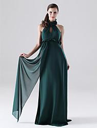 Floor-length Chiffon Bridesmaid Dress - Dark Green Plus Sizes Sheath/Column Halter