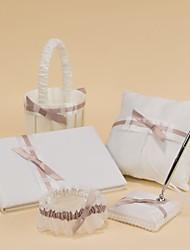 coleção do casamento pura elegância em cetim branco (5 peças)