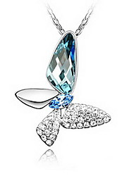 blu di cristallo lucente e la farfalla lega platino ciondolo a forma di collana