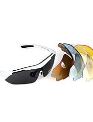 UV400 occhiali da sole occhiali - Sport ciclismo bicicletta - 5 lente - telaio bianco (bc1345061)