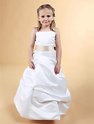 A-line Princess Floor-length Flower Girl Dress - Satin Square Spaghetti Straps with Bow(s) Pick Up Skirt Sash / Ribbon