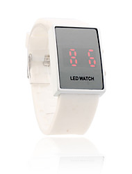 White Silicone Band Unisex Red LED Sports Wrist Watch