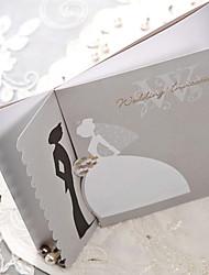 Sample Silver Scalloped Edge Bride & Groom Wedding Invitation (One Set)