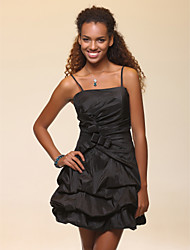 Cocktail Party/Sweet 16/Wedding Party/Holiday Dress - Black Plus Sizes A-line/Ball Gown Spaghetti Straps Short/Mini Taffeta