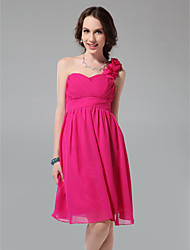 Lanting Knee-length Chiffon Bridesmaid Dress - Fuchsia Plus Sizes / Petite A-line / Princess One Shoulder / Sweetheart