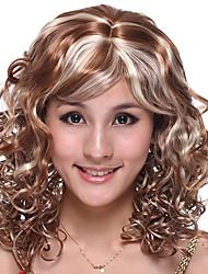 Capless lange hoge kwaliteit kunststof bruin met licht blond krullend haar pruik