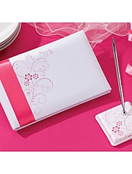 Pink Flora Wedding Guest Book And Pen Set In Satin Sign In Book Coral Wedding