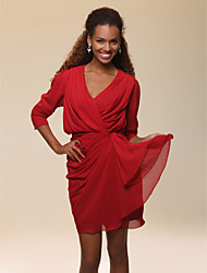 Cocktail Party Homecoming Dress - Celebrity Style Sheath / Column V-neck Short / Mini Chiffon with Draping Side Draping