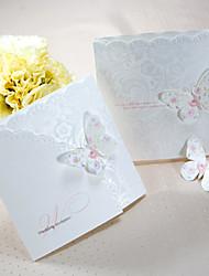 printemps échantillon papillon d'invitation de mariage à trois volets (un jeu)